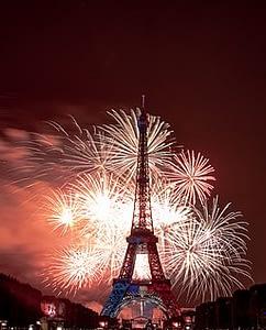 Paris by night, Eiffel Tower fireworks on Bastille Day visit Paris with PARIS BY EMY